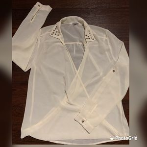Charlotte Russe open wrap see-through blouse